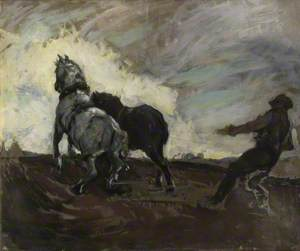 A Man Ploughing with Two Horses
