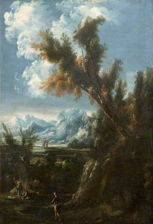 Mountainous Wooded Landscape with Figures