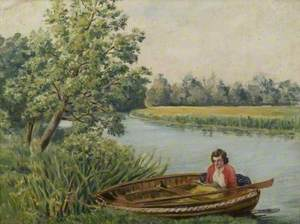 Woman in a Boat on the River at St Neots, Cambridgeshire