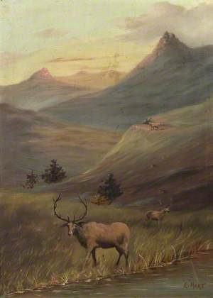 Stags by Water in a Mountainous Landscape*