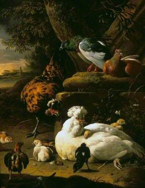A Hen with Chicks, a Rooster and Pigeons in a Landscape