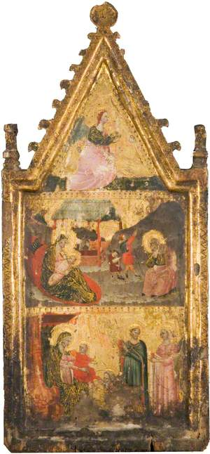 The Angel of the Annunciation (top), the Nativity and Annunciation to the Shepherds (centre), the Adoration of the Magi (bottom)
