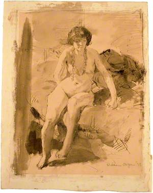 A Nude Girl Seated on a Bed