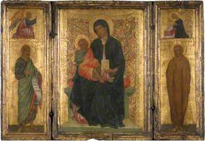 Madonna and Child Enthroned (centre panel), Saint John the Baptist (left wing), with the Angel of the Annunciation (above), Saint Mary Magdalene (right), with (above) the Madonna Annunciate
