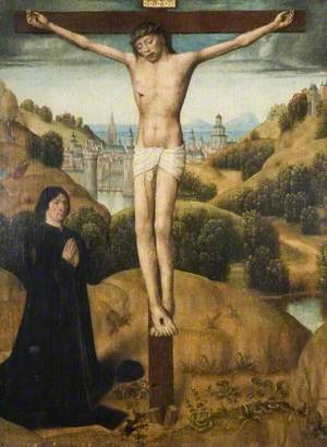 Christ on the Cross, with a Donor