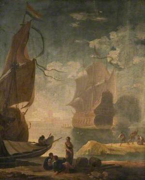 Harbour Scene with Man-of-War and Figures on a Quay