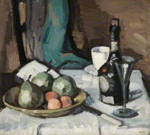 Still Life with a Bowl of Fruit, Bottle, Cup and Glass