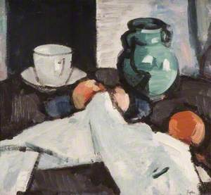 Still Life with Bowl of Fruit, Jug, Cup and Saucer
