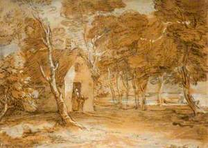 Wooded Landscape with Cottage, Figures and Boat on a Lake