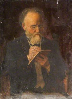 Portrait of a Man Holding a Pen and Book