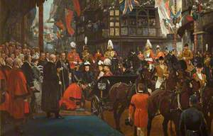 Queen Victoria Knighting Herbert Ashman, Esq., First Lord Mayor of Bristol, at the Council House, 12 November 1899