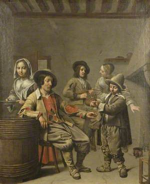 Boy Pouring a Glass of Wine for a Countryman
