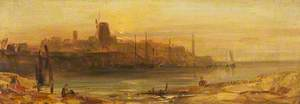 Sunset, Seaport and Lighthouse