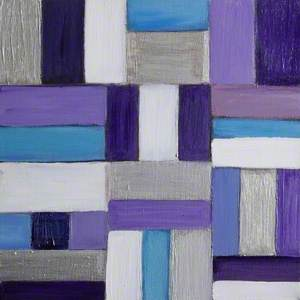 Blue, White, Silver and Purple Abstract, No. 13