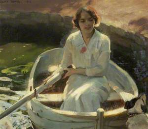 Study of a Young Girl in a Rowing Boat with a Dog