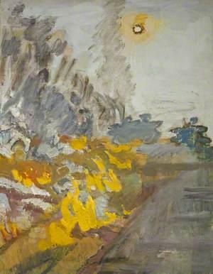 Sun and Burning Stubble Field