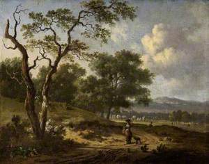 Landscape with a Woman and a Dog