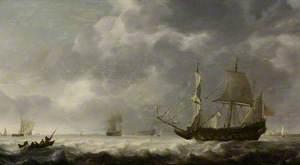 Sea Piece, a Breeze near a Dutch Port