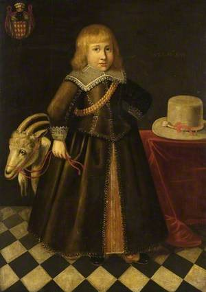 Portrait of a Child with a Toy Goat