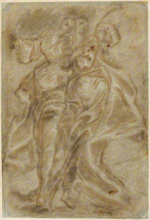 A Study of Two Draped Female Figures