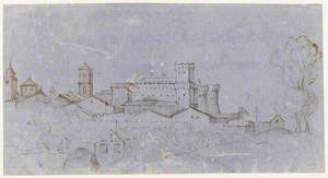 View of a Town with a Fortified Castle, Landscape in Foreground