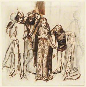 Composition of Six Figures in Medieval Dress (Scene from a Play)