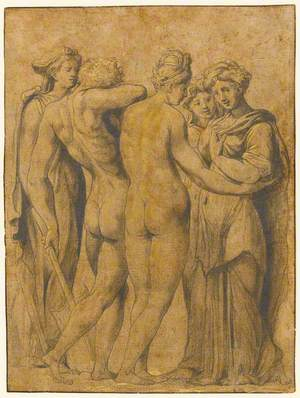 Male and Female Nude and Three Female Figures
