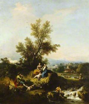 Italianate Wooded River Landscape with a Piping Shepherd, Two Women and a Child