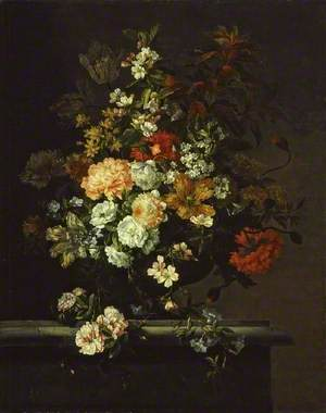 Still Life of Mixed Flowers in a Vase on a Ledge