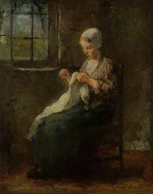 A Young Girl Sewing, Seated at a Window