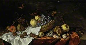 Wicker Basket with Fruit, Medlars and Shells
