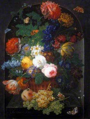 A Basket of Flowers with Fruit