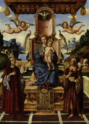 The Virgin and Child Enthroned with Saints Cosmas and Damian, St Eustace and St George in the Background