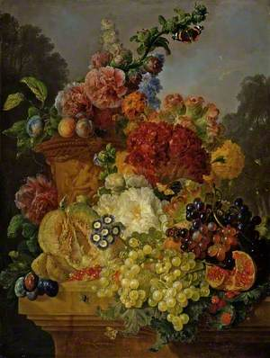 Flowers in an Urn, with Fruit