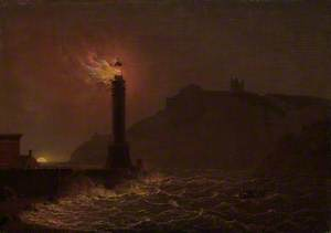 A Lighthouse on Fire at Night