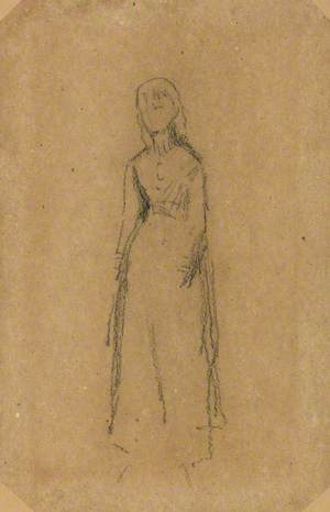 A Girl in a Long Blue and Red Dress