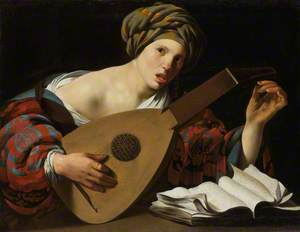 Young Woman Tuning a Lute