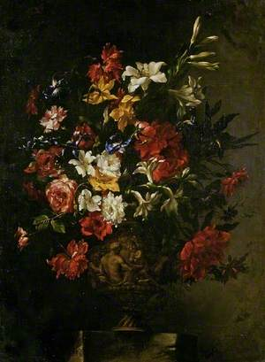 Flowers in a Sculpted Vase