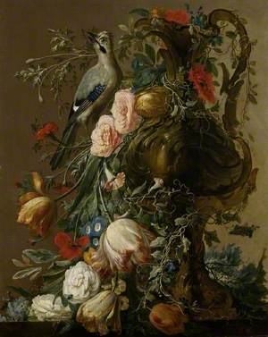 A Sculpted Stone Vase with Roses, Auricula, Poppies, Convolvulus, with a Jay on a Ledge