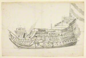 Study of a Dutch Ship, 'De Eendracht', from the Port Bow