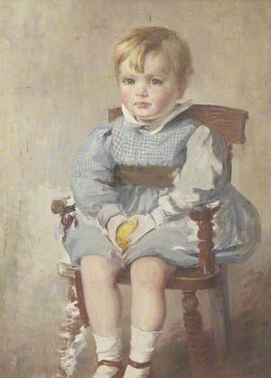 Portrait of a Child Seated on a Wooden Chair