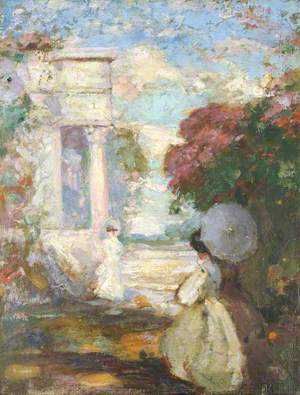 Lyrical Landscape with Two Figures in Nineteenth-Century Dress
