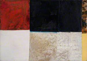 Blue and White Abstract with Red Square*