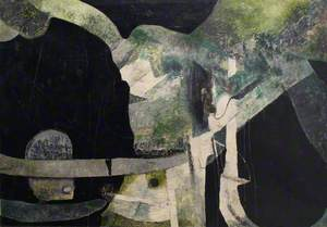 Black, Green and Cream Abstract