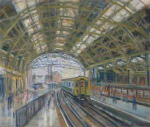 British Railway Train Leaving a Station