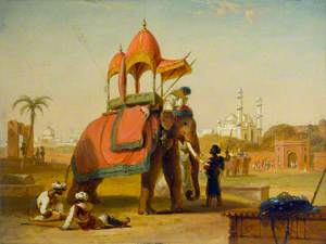 A Caparisoned Elephant – Scene near Delhi (A Scene in the East Indies)