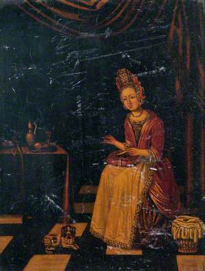 Woman and a Dog, Oriental Scene