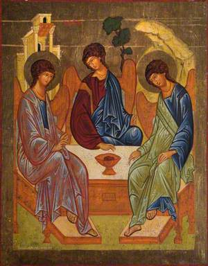Icon with the Eastern Orthodox Trinity