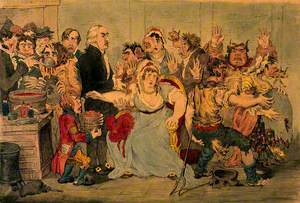 Edward Jenner Vaccinating Patients in the Smallpox and Inoculation Hospital at St Pancras: The Patients Develop Features of Cows