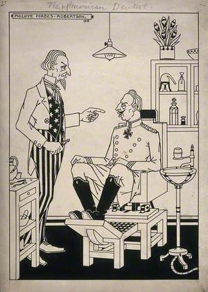 A Dentist (Uncle Sam) about to Extract a Tooth from a Patient (Kaiser Wilhem II), Representing America's Successful Involvement in the First World War